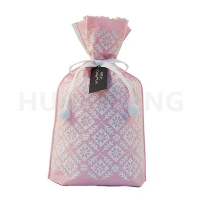 Wholesale Pink Non Woven Christmas Drawstring Gift Packing Bag Plant Pattern