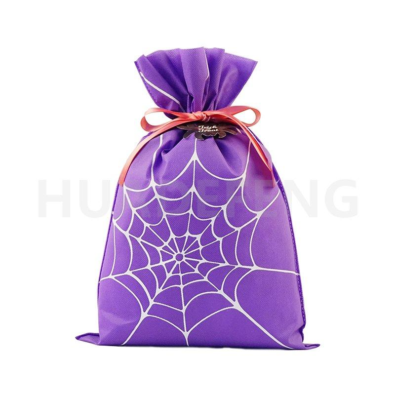 Custom Purple Halloween Gift Drawstring Packing Pouch With Spider Web Pattern