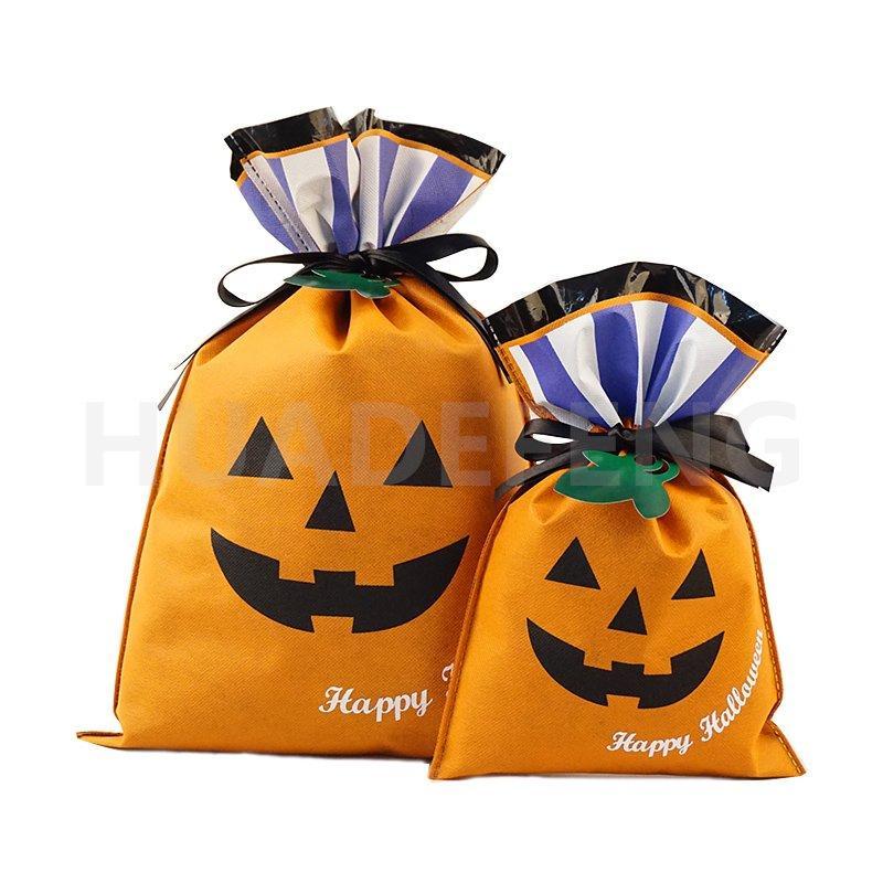 Orange Pumpkin Non Woven and LDPE Halloween Drawstring Gift Packing Bag