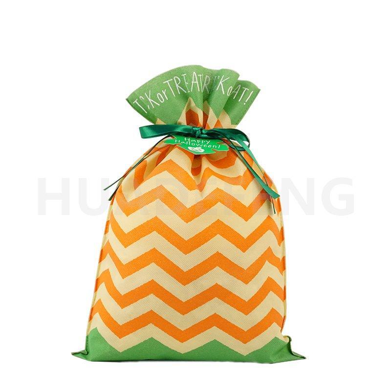 Orange Wave Pattern Halloween Non Woven Plastic Drawstring Bag