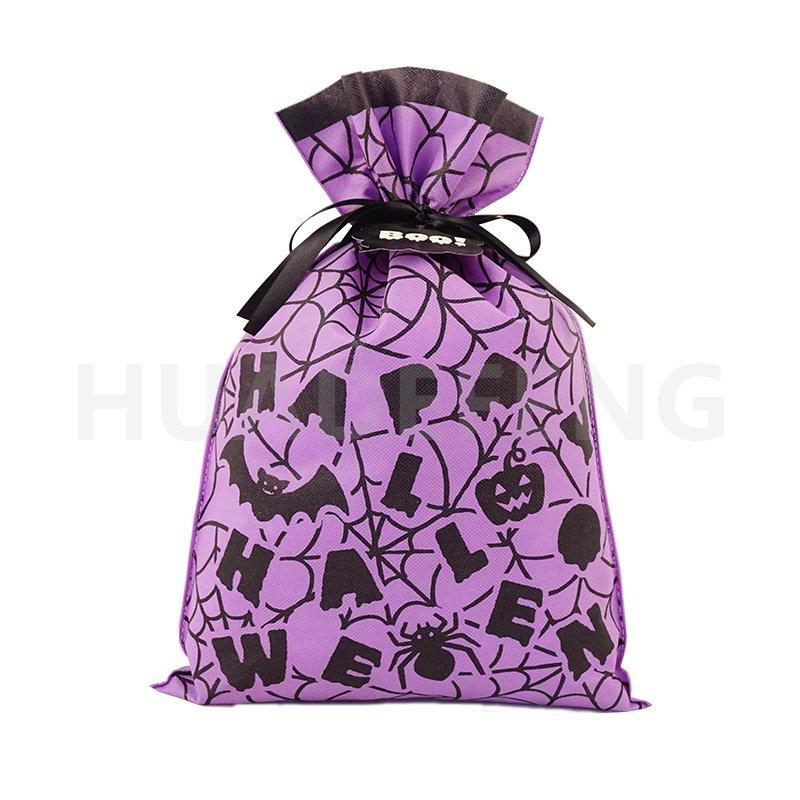 Purple Non Woven Halloween Drawstring Packing Gift Bag Custom Logo