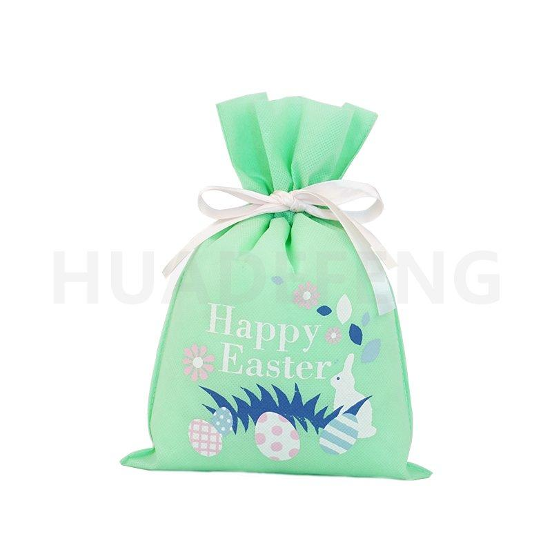 Green Easter Drawstring Non Woven Fabric Bag With White Ribbon