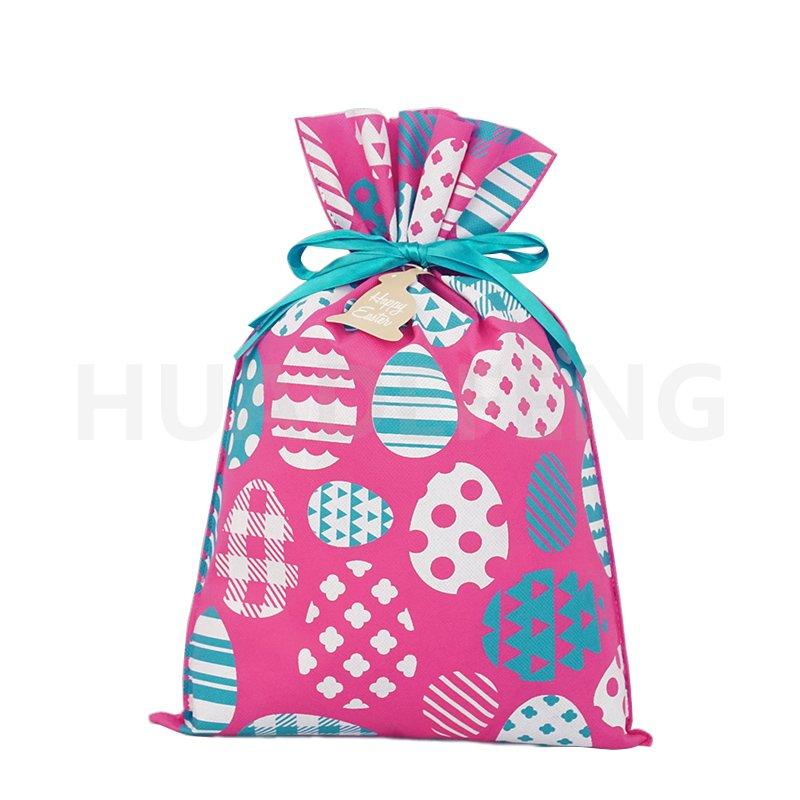 Pink Easter Gift Packing Drawstring Plastic Bag Printing With Easter Egg Pattern