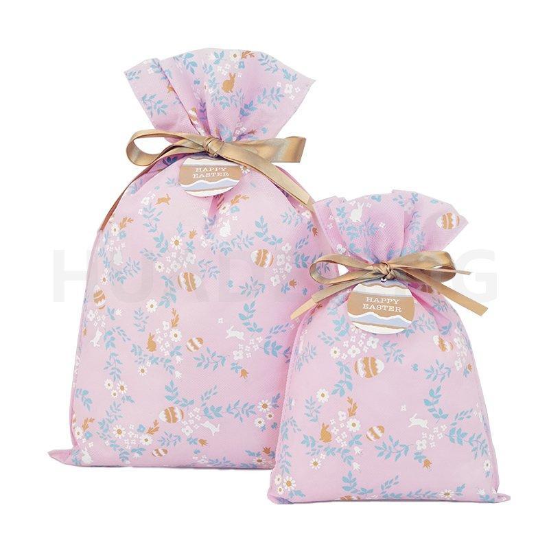 Pink Non Woven Custom Plastic Bag For Packaging Easter Drawstring Gift