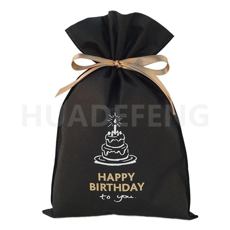 Black Non Woven Birthday Drawstring Gift Packing Bags With Logos