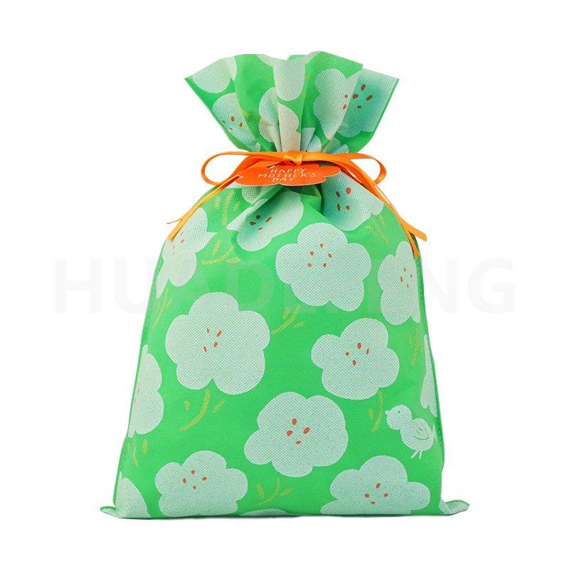 Green Mother's Day Non Woven Drawstring Plastic Bag With Flower Pattern