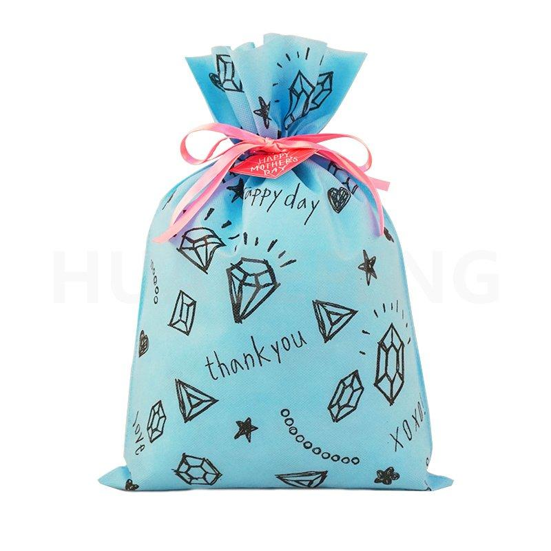 Blue Drawstring Non Woven Bag Wrap Mother's Day Gift Pink Ribbon