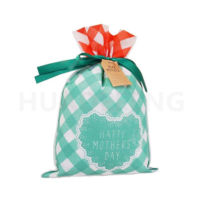 Green Mother's Day Non Woven Drawstring Biodegradable Plastic Bags