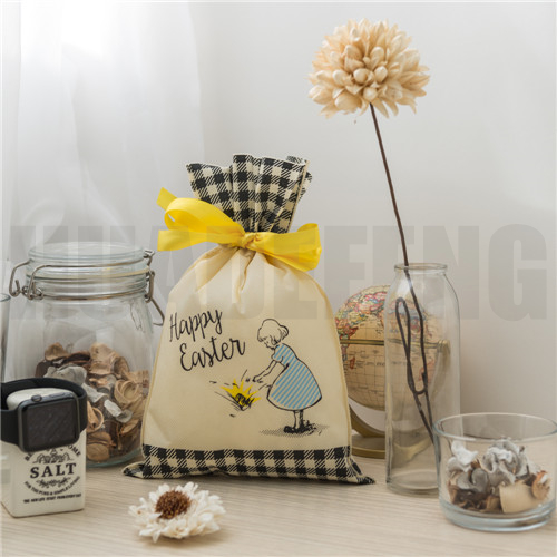 HuaDeFeng-Manufacturer Of Easter Gift Bags Beige Non Woven Drawstring Bags