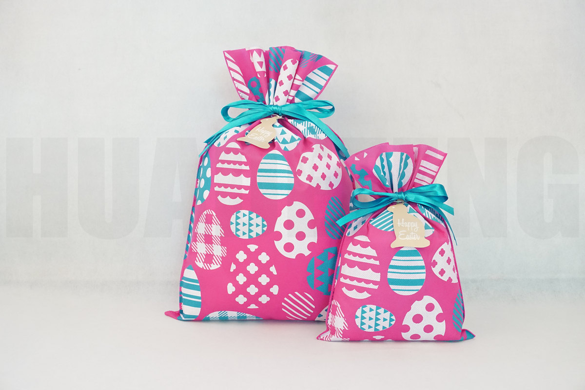 HuaDeFeng-Gift Wrapping, Pink Easter Gift Packing Drawstring Plastic Bag-4