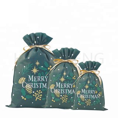 Green Plant Pattern Non Woven Drawstring Christmas Santa Sack Wrap Gift