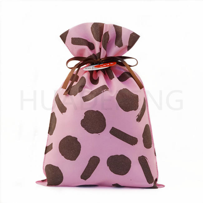 Pink Valentine's Day Drawstring Non Woven Bag Packaging Pouch Competitive Price