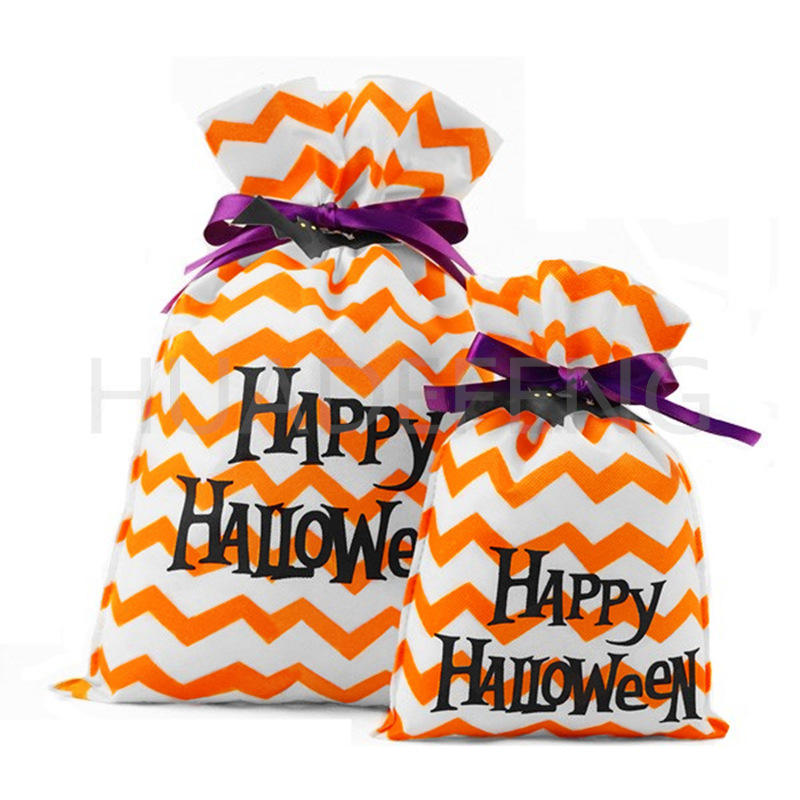 """Orange Non Woven Halloween Drawstring Pouch Bag With """"Happy Halloween"""" Text"""
