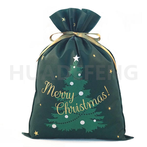 Green Non Woven Christmas Drawstring Gift Packing Bag Christmas Tree pattern