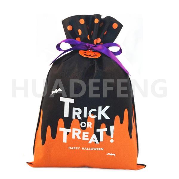 Orange And Black Non Woven Halloween Drawstring Gift Packing Bag Pumpkin